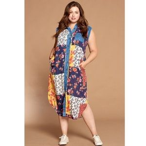 Mixed-floral Printed Button-down Maxi Dress